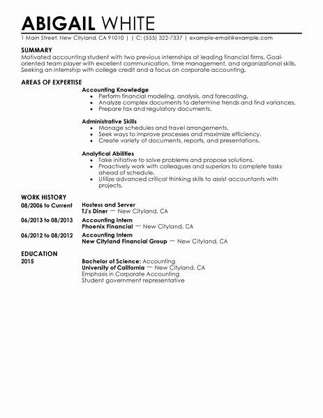 Best Training Internship Resume Example