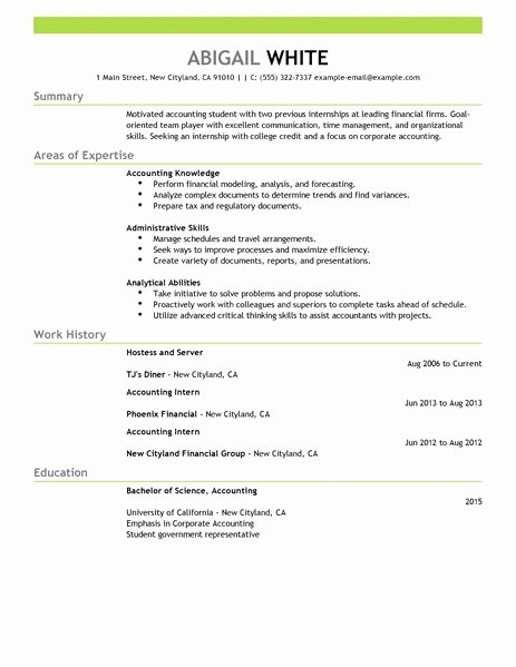 Best Training Internship Resume Example