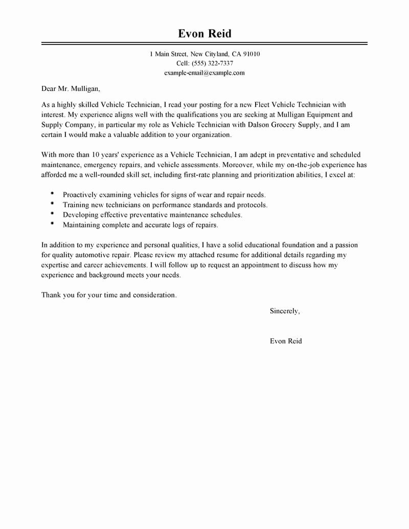 Best Transportation Automotive Technician Cover Letter