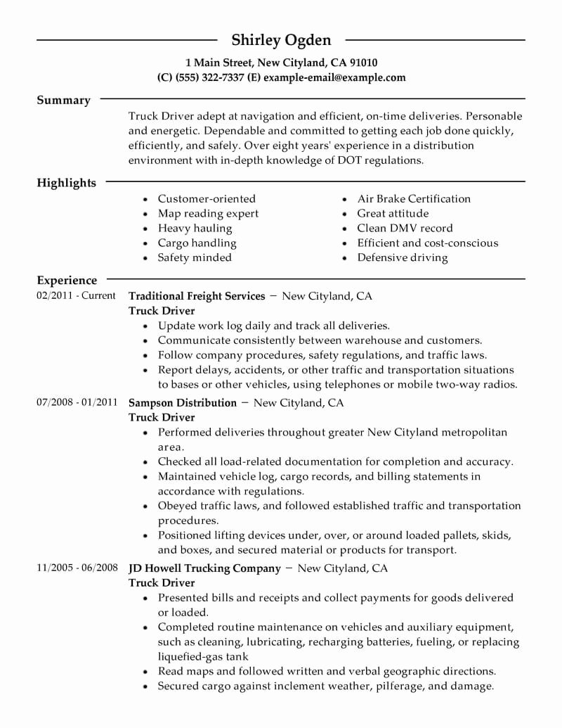 Best Truck Driver Resume Example