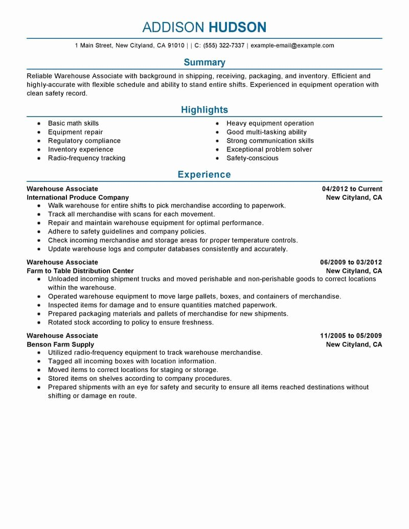 Best Warehouse associate Resume Example