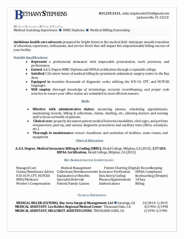 Bethany Stephens Medical Insurance Billing Coding Resume