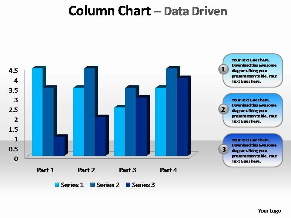 Beveled Column Chart Data Driven Editable Powerpoint