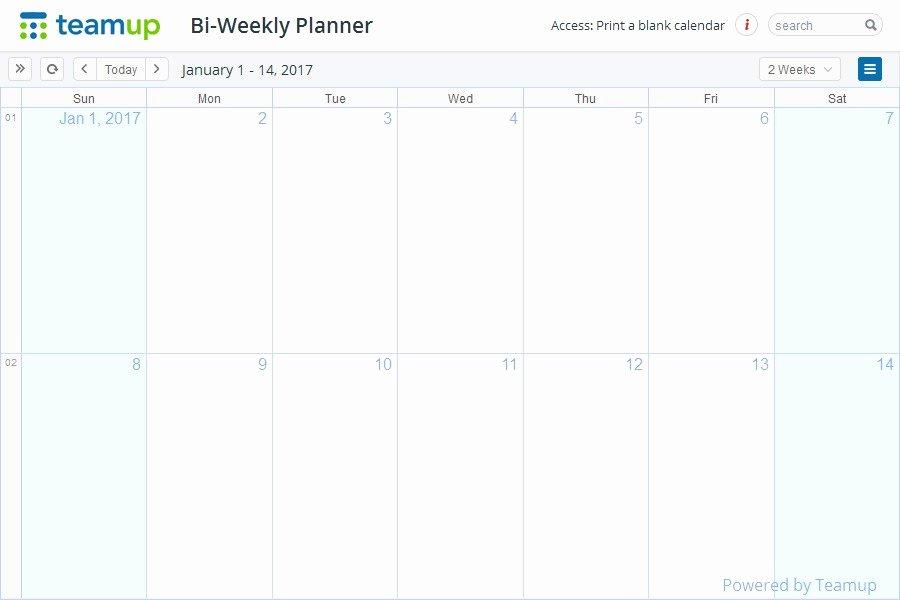 Bi Weekly Calendar Template Free