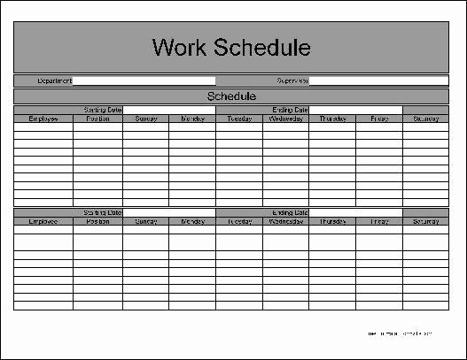 Bi Weekly Employee Schedule Template Free Templates