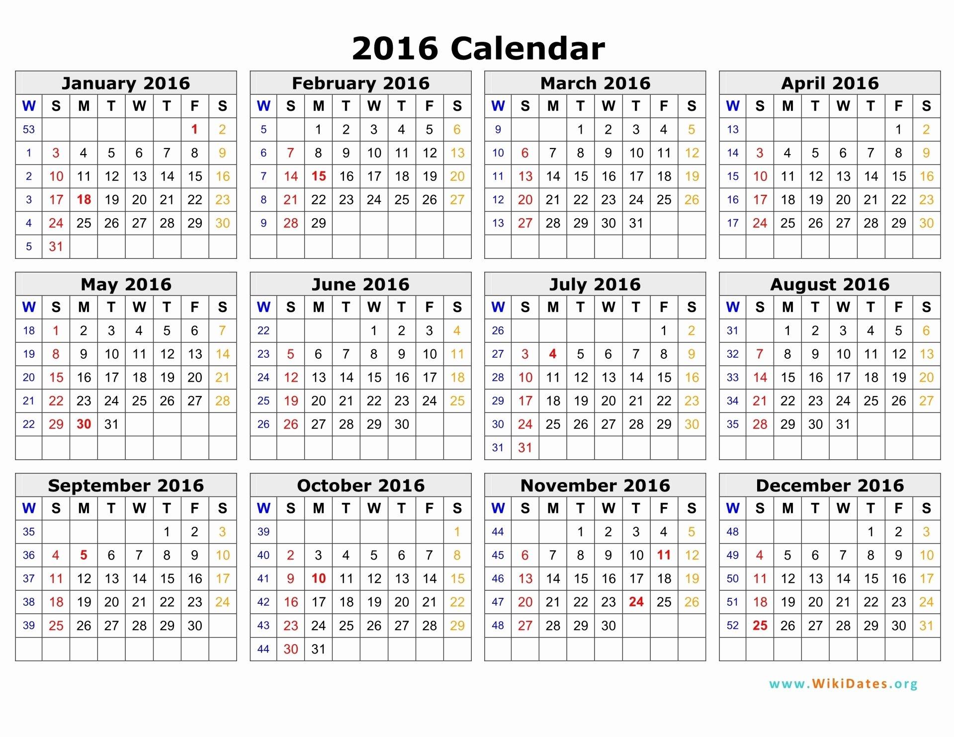 Bi Weekly Payroll Calendar 2016 Template