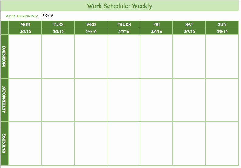 Bi Weekly Schedule Template