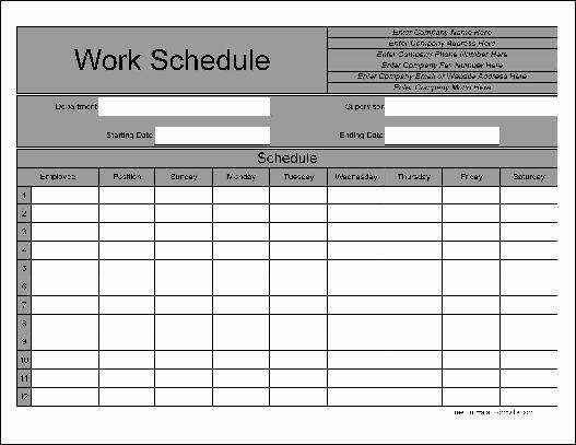 Bi Weekly Work Schedule Templates Free Driverlayer