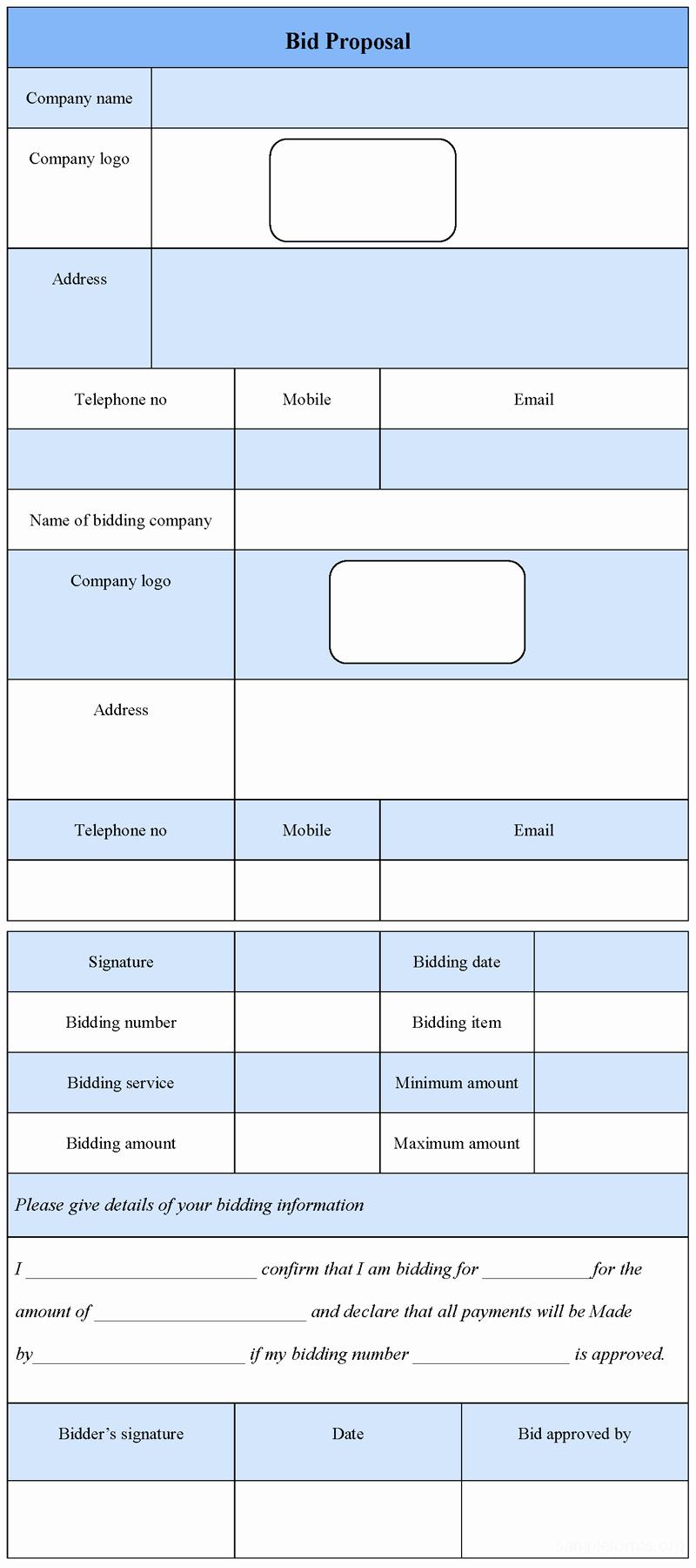 Bid Proposal form Example Mughals
