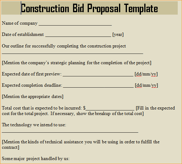 Bid Proposal Template Word Business Proposal Templated