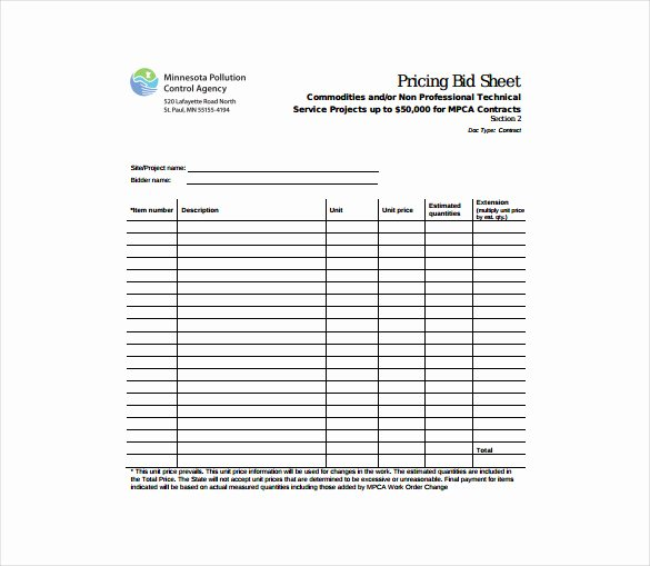 Bid Sheet Template 10 Free Word Pdf Documents