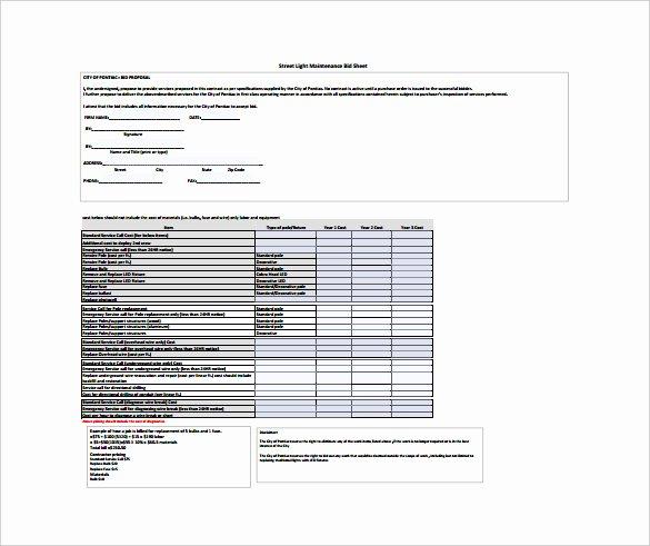 Bid Sheet Template 10 Free Word Pdf Documents