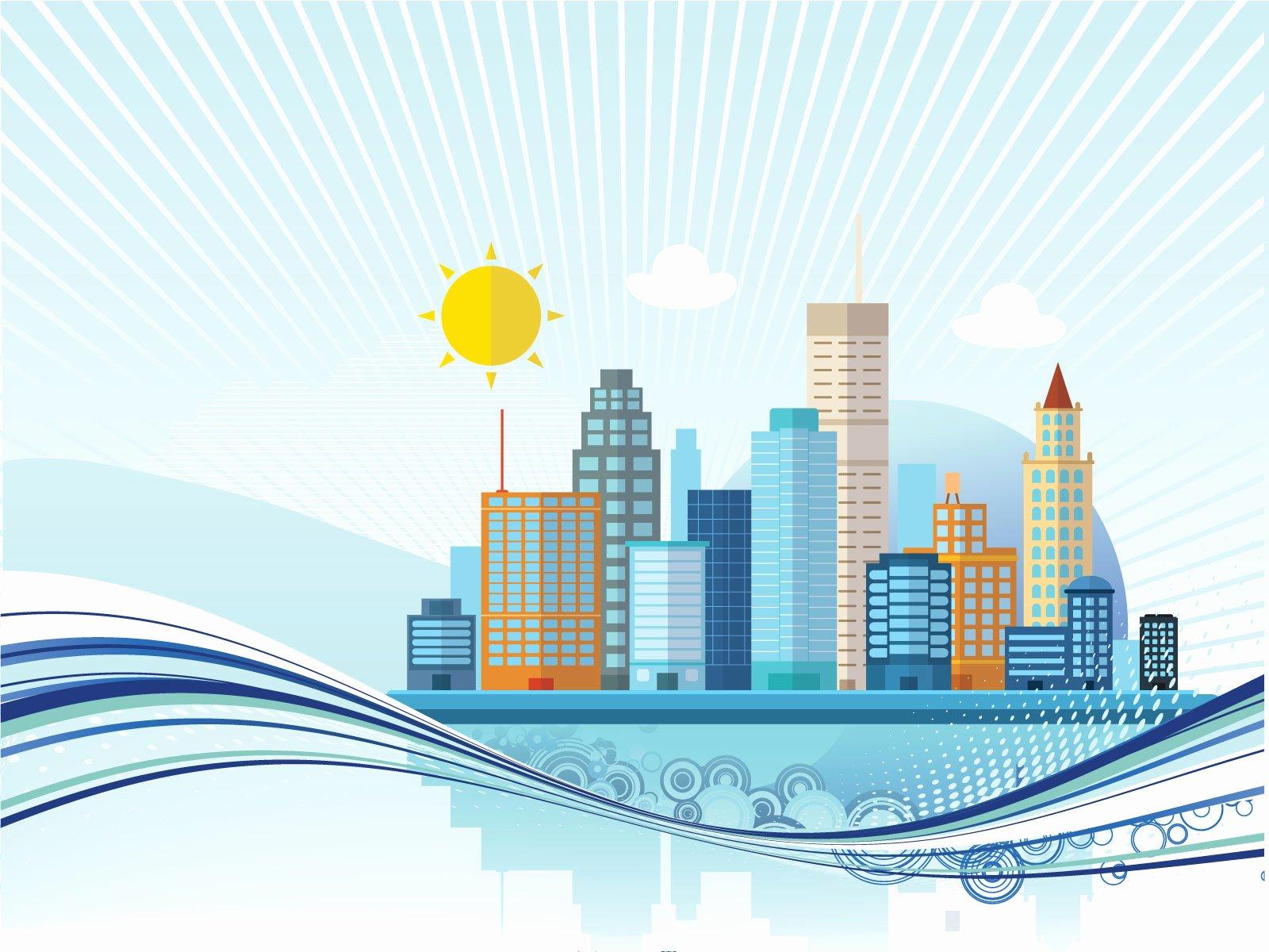 Big City Powerpoint Templates 3d Graphics Blue