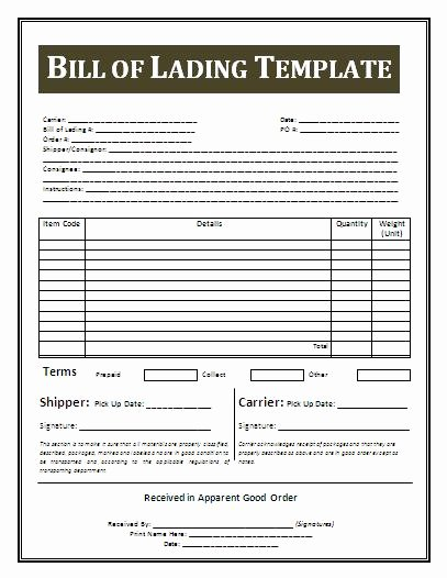 Bill Lading Template