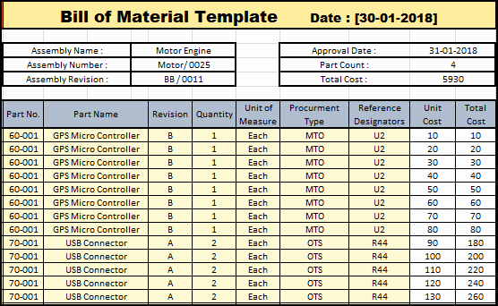 Bill Materials Product List Template Excel Ideal Bill