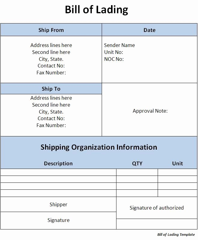 Bill Of Lading Template Word Excel formats
