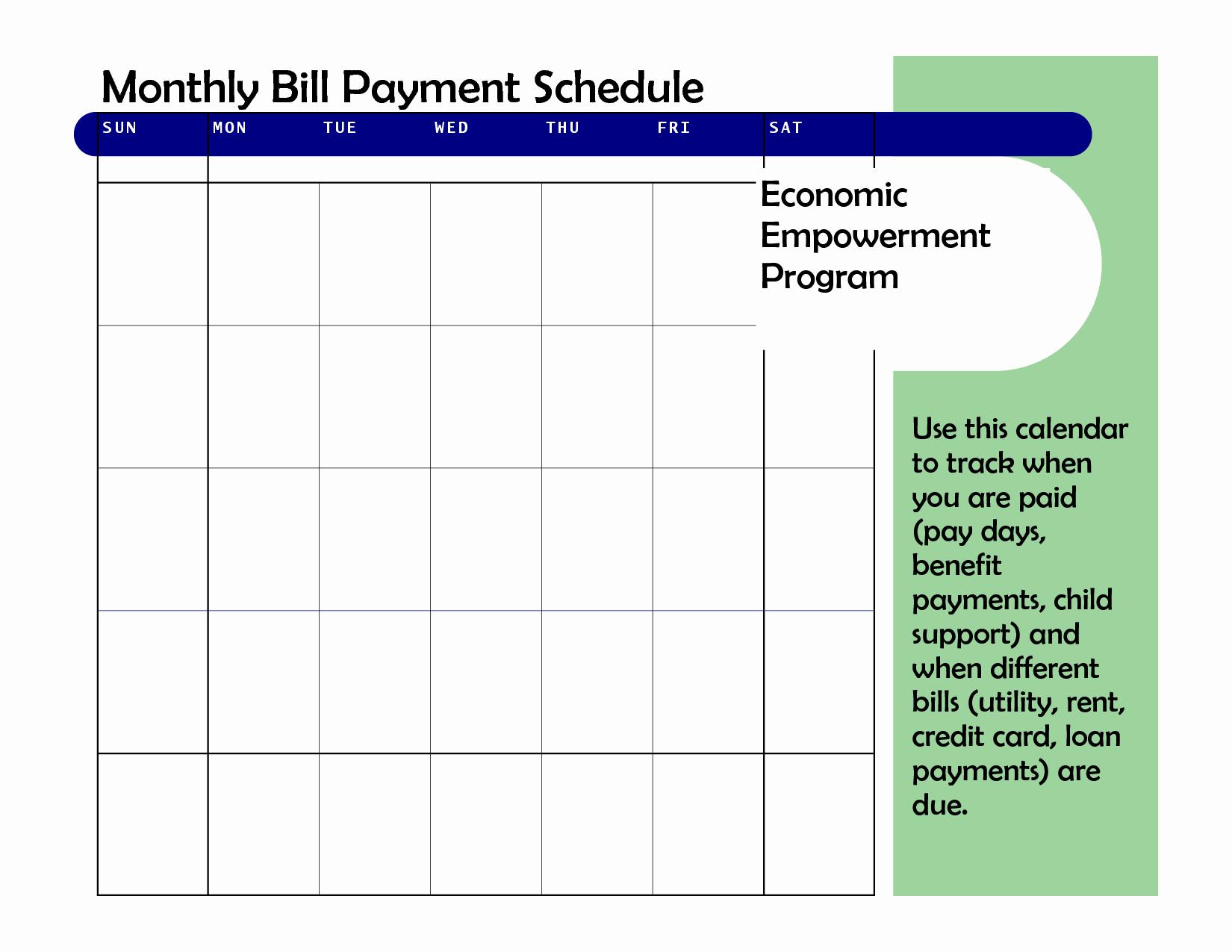 Bill Paying Calendar Template