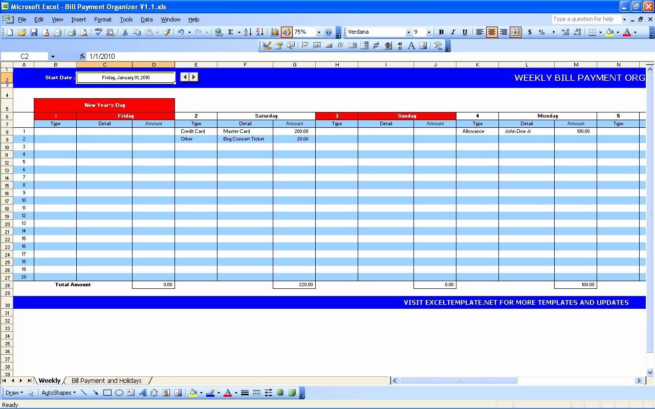 Bill Payment Calendar
