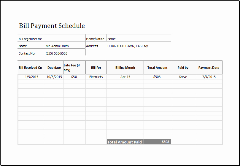 Bill Payment Schedule Template at Emplates