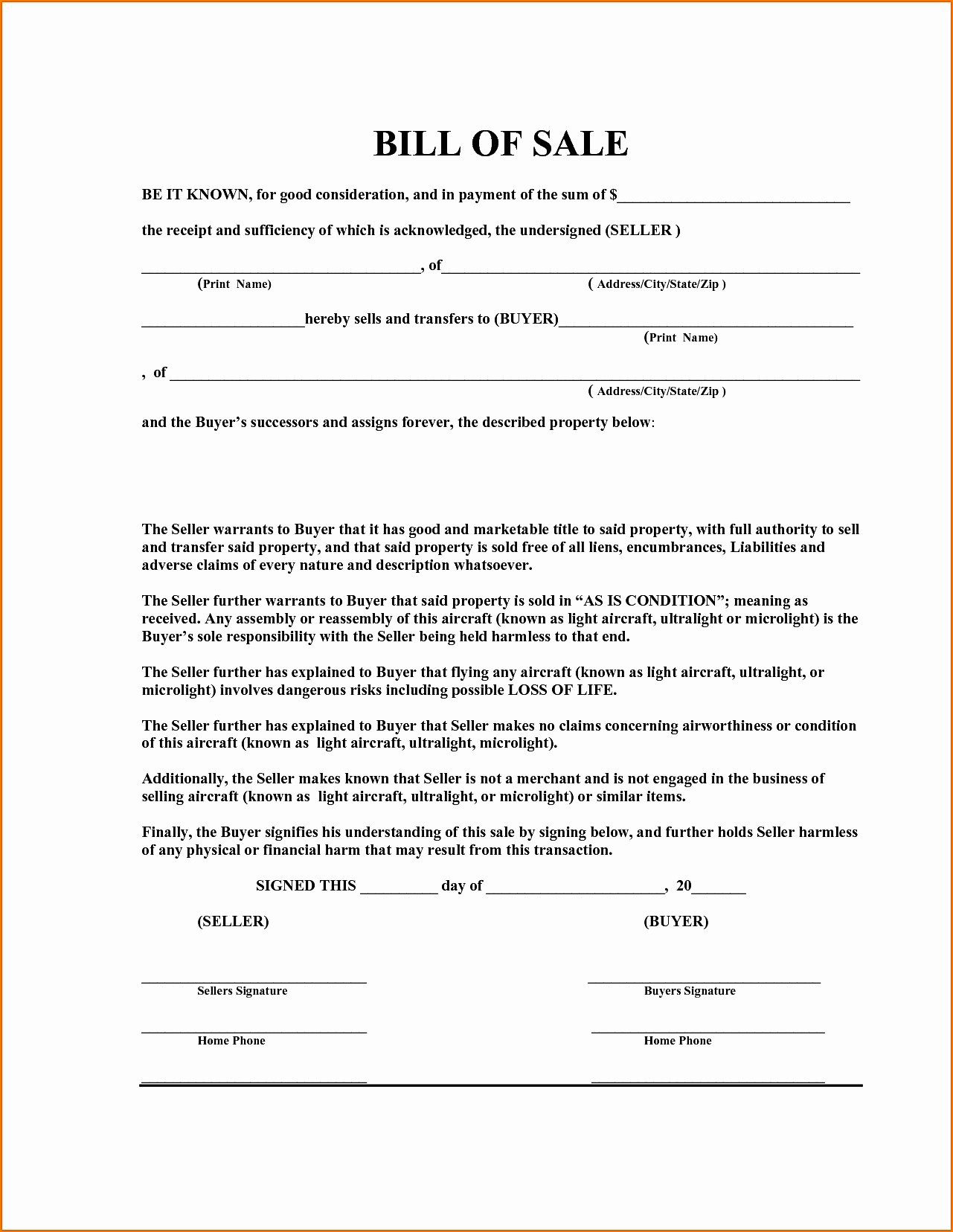 Bill Sale Word Template Example Mughals
