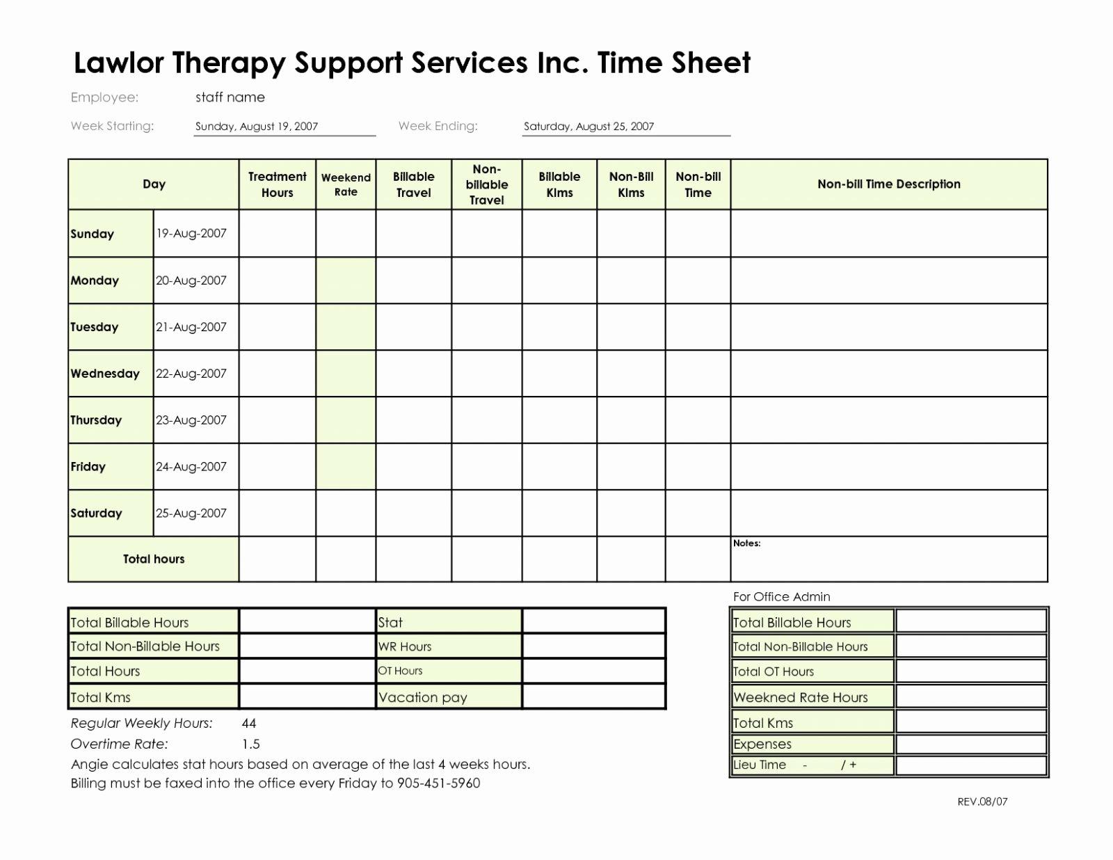 Billable Hours Spreadsheet