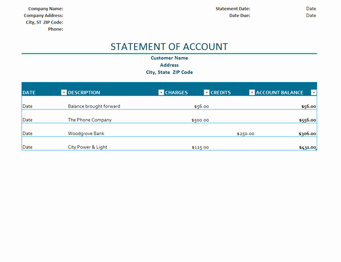 Billing Statement Of Account