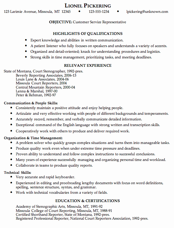 Bination Resume Sample Customer Service Representative
