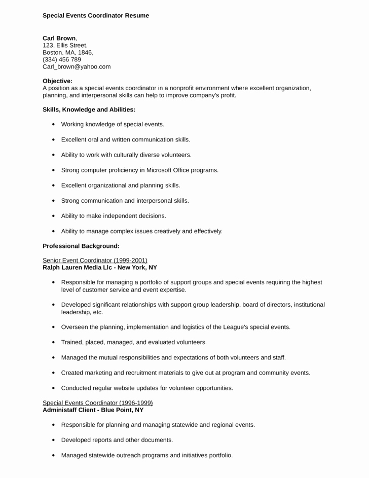 Bination Special events Coordinator Resume Template