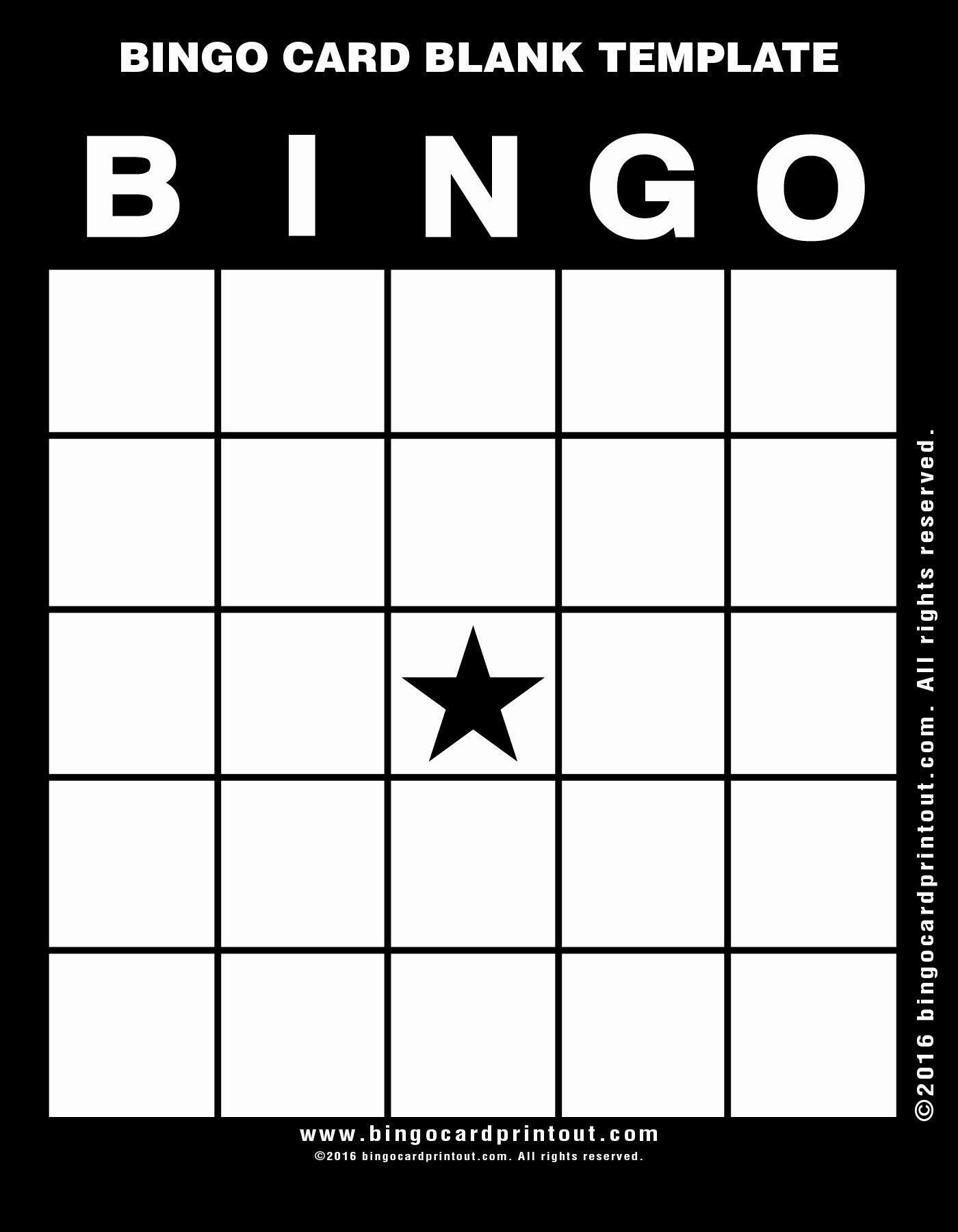 Bingo Card Blank Template Bingocardprintout