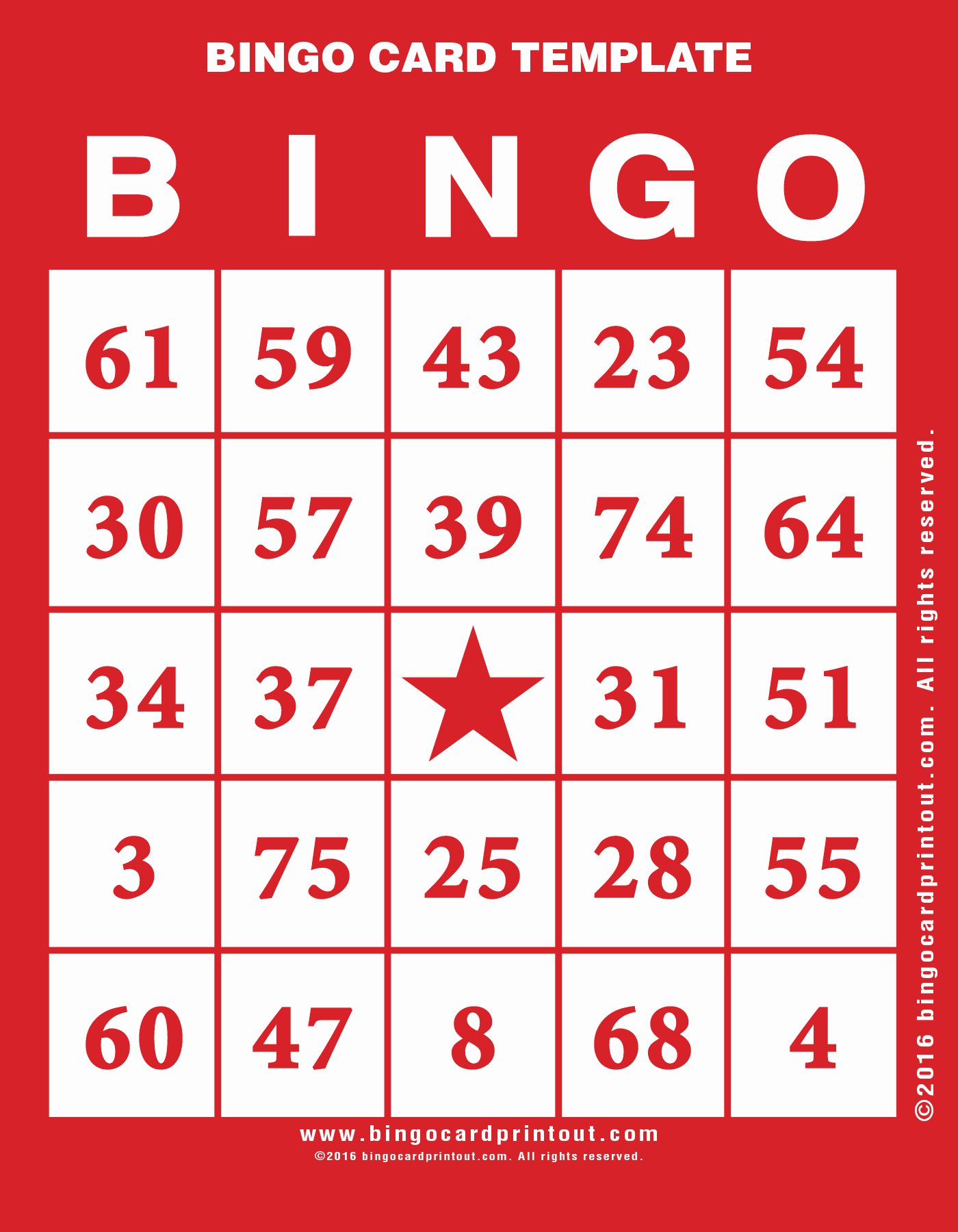 Bingo Card Template Bingocardprintout