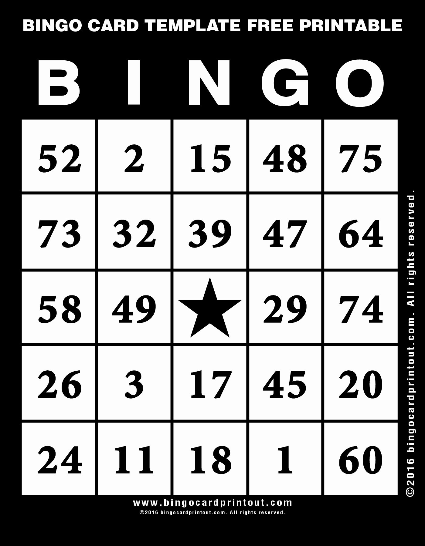 Bingo Card Template Free Printable Bingocardprintout