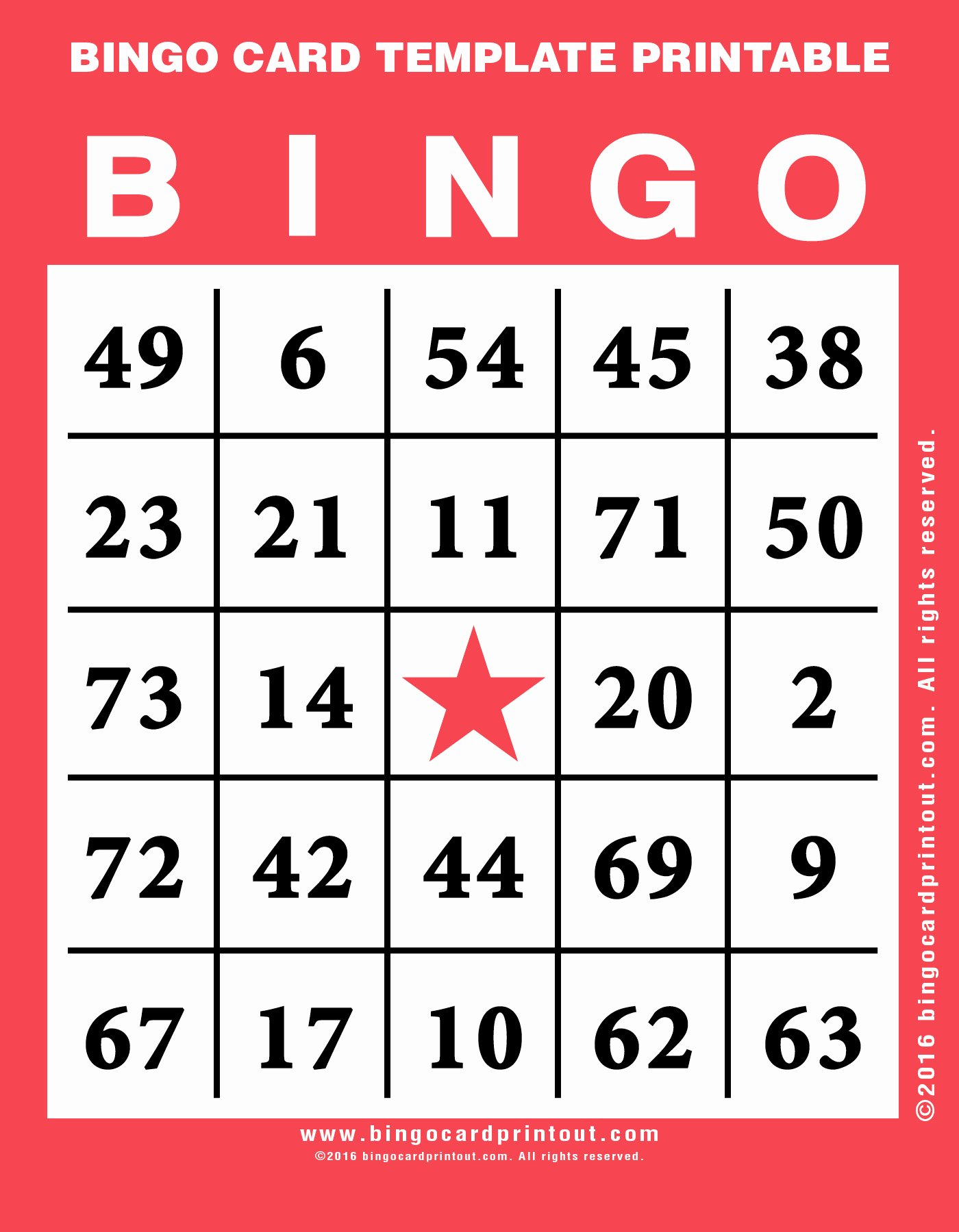 Bingo Card Template Printable Bingocardprintout
