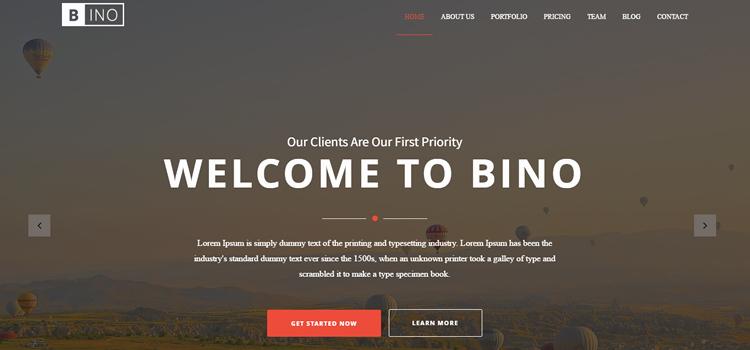 Bino – Free HTML5 Landing Page Template
