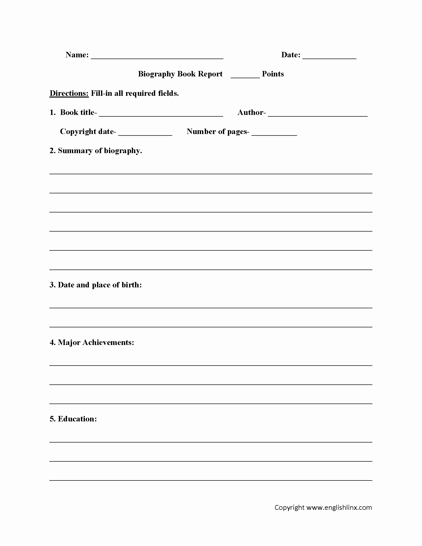 Biography Book Report Worksheets Homework