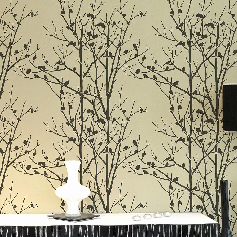 Birds In Trees Allover Wall Stencil Reusable Wall