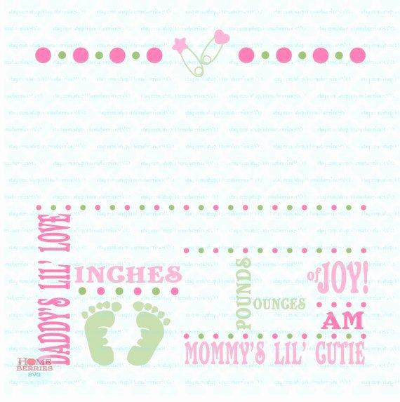 Birth Announcement Template Svg Birth Svg Baby Svg