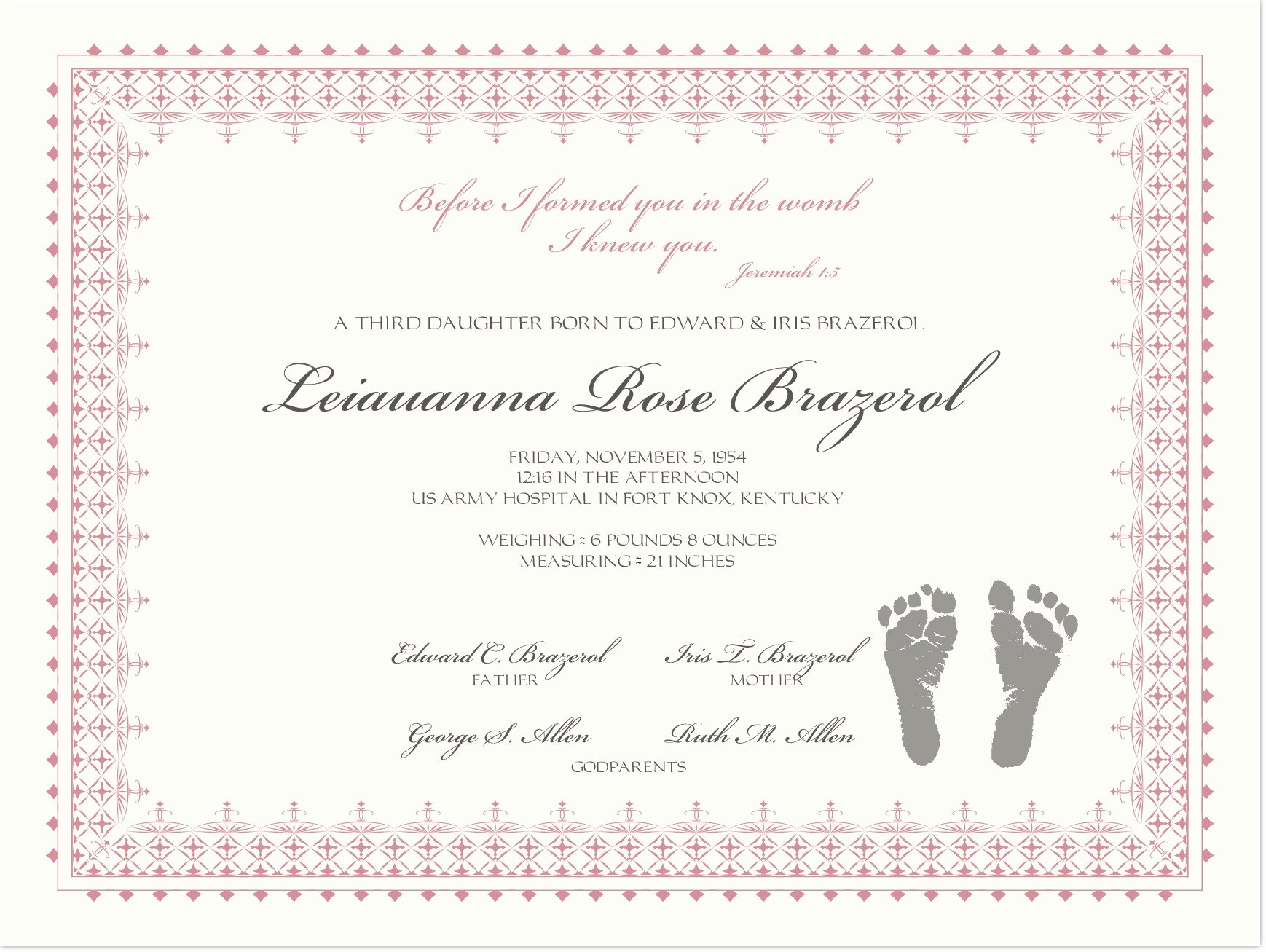 Birth Certificate with Baby Footprints