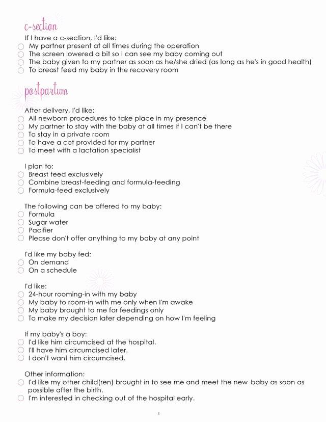 Birth Plan Worksheet Page 3 Free Printable Coloring Pages