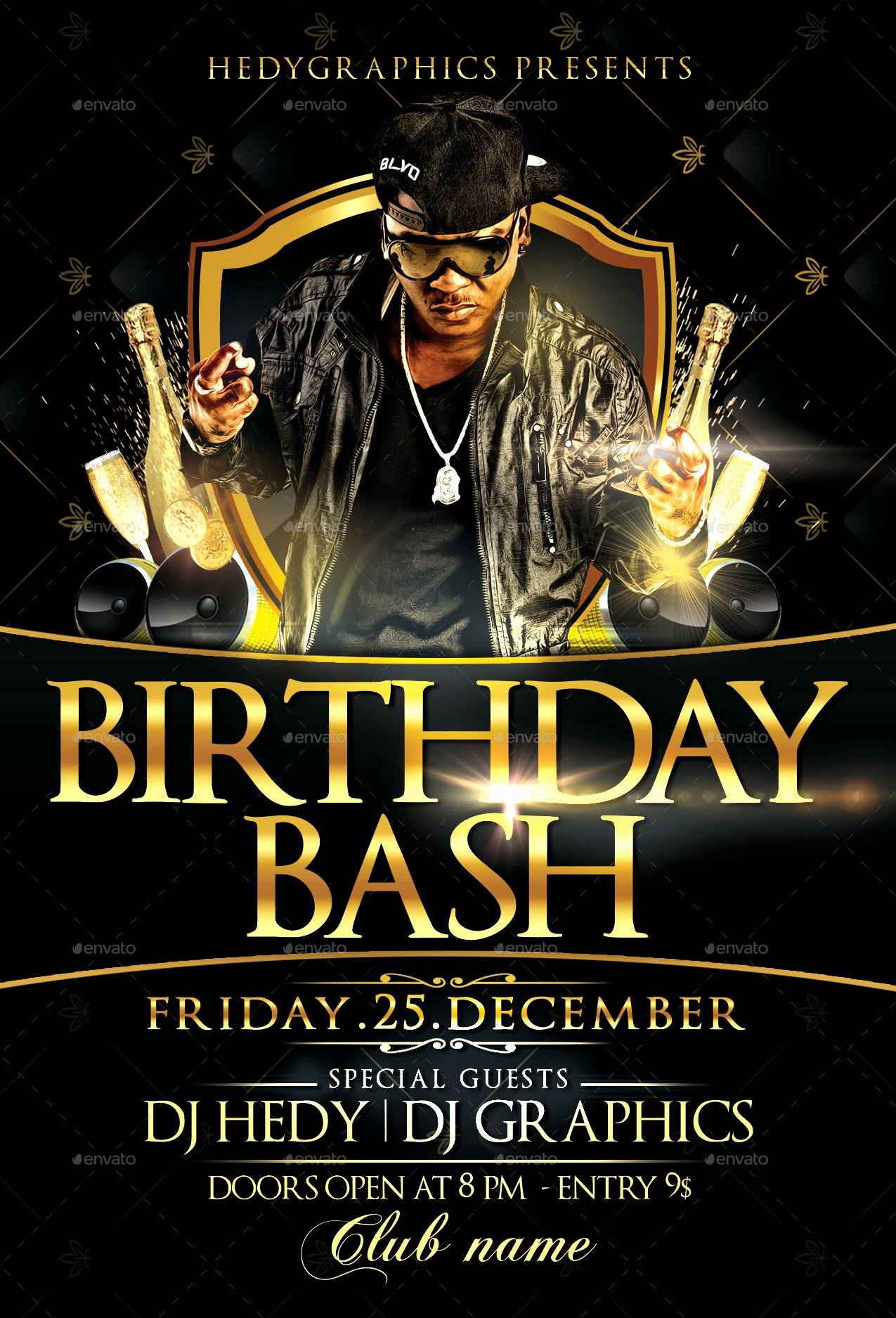 Birthday Bash Flyer Template by Hedygraphics with