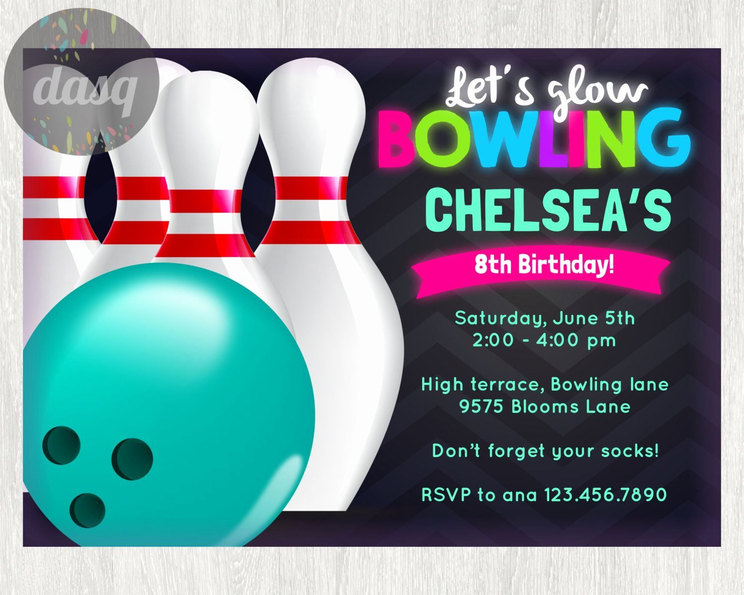 Birthday Bowling Party Invitations