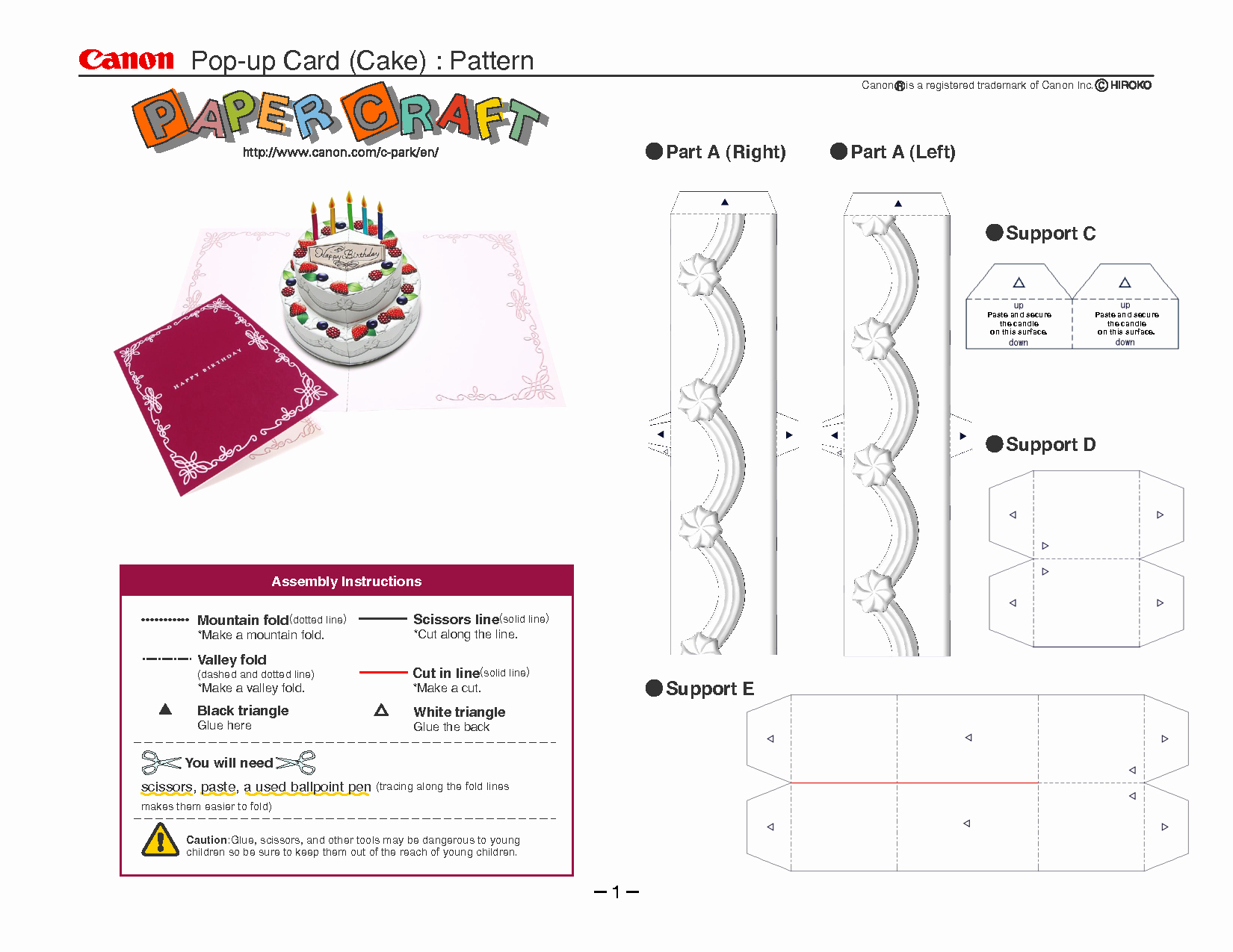 Birthday Cake Pop Up Card Template Cards