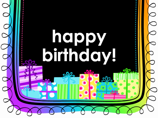 Birthday card ts on black background half fold TM
