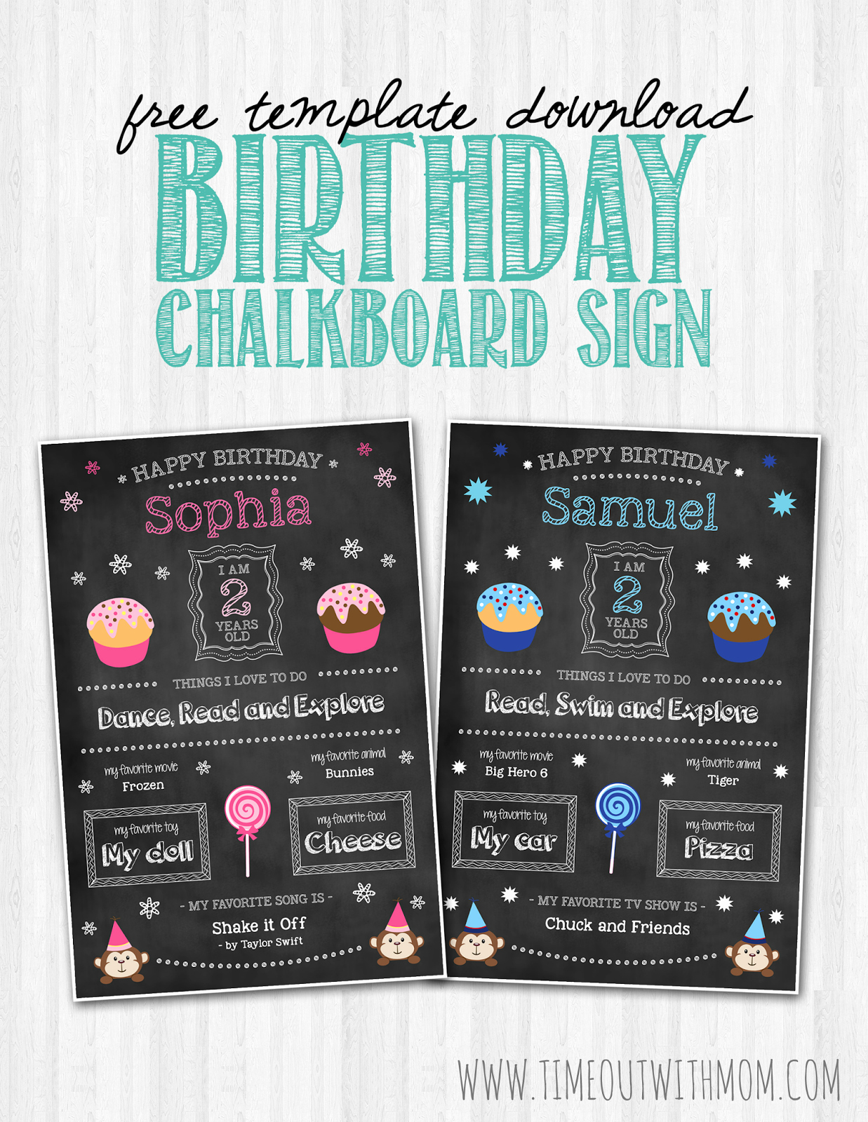 Birthday Chalkboard Sign Template and Tutorial
