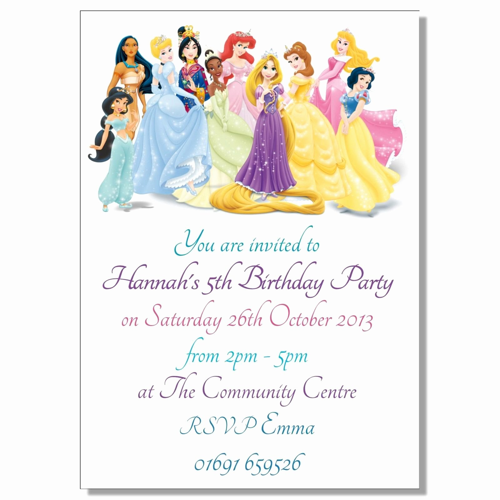 Birthday Invitation Card Disney Princesses Birthday