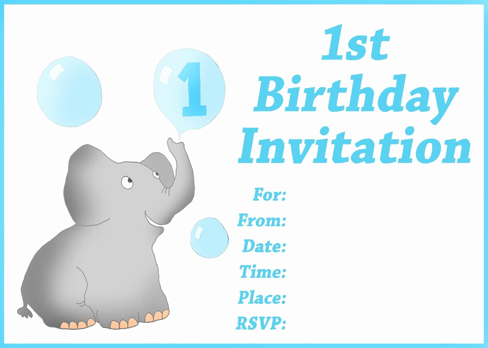 Birthday Invitation Card Free Printable 1st Birthday