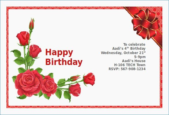 Birthday Invitation Card Sample – Draestantfo