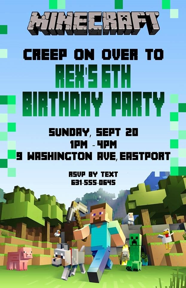 Birthday Invitation Minecraft theme