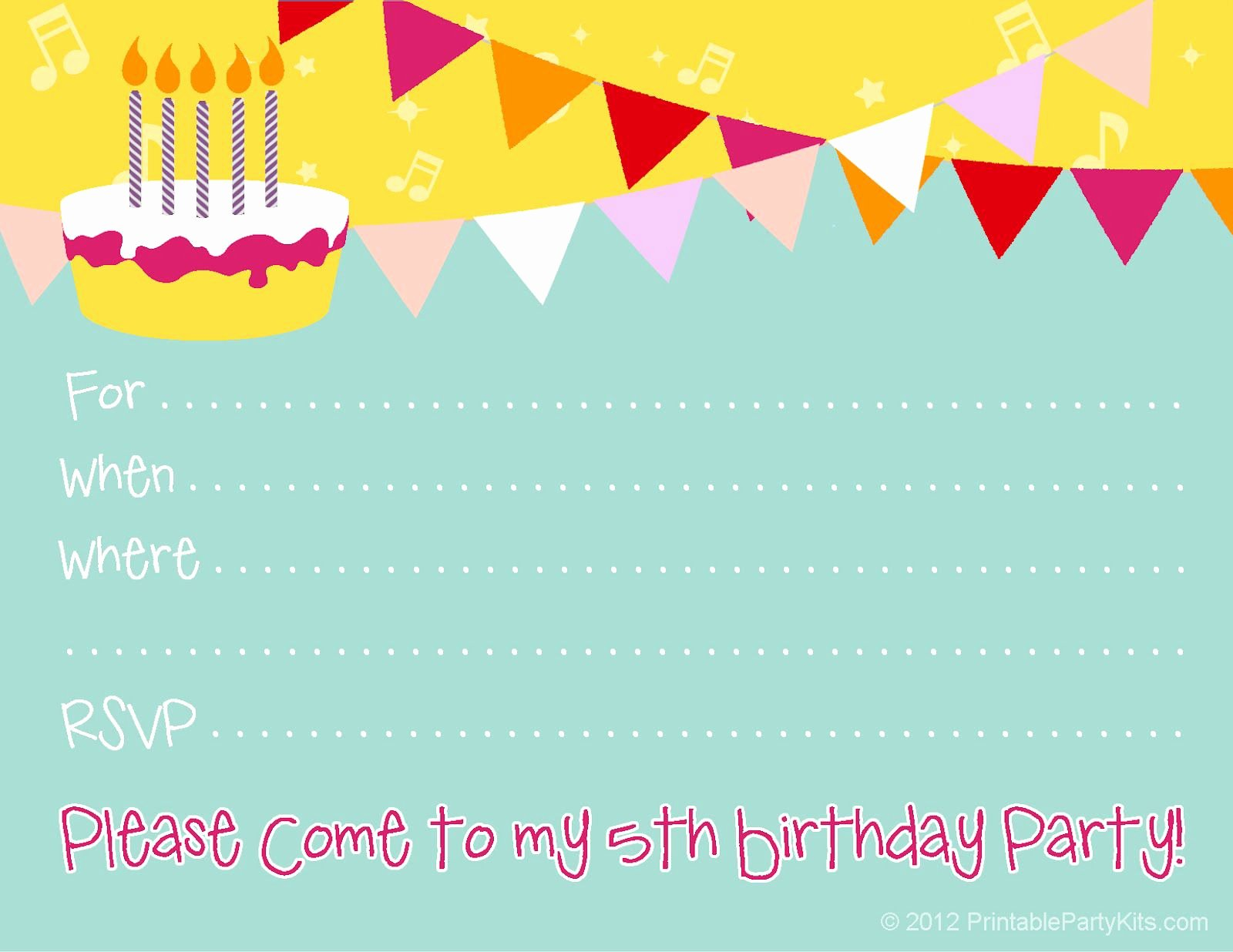 Birthday Invitations Kids Birthday Invite Template