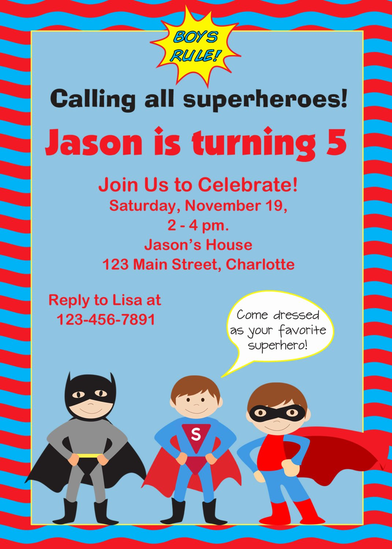 Birthday Invites Free Download Superhero Birthday Party