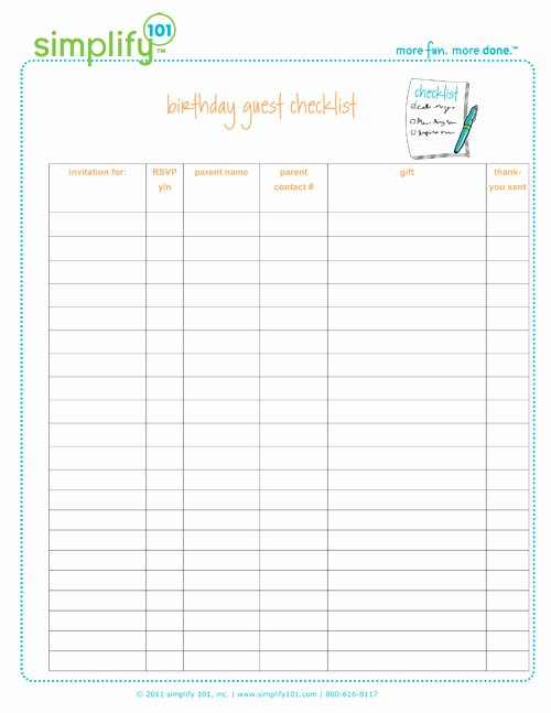 Birthday Party Checklist Printable Simplify 101 Simplify 101